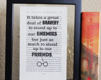 Harry Potter • It takes a Great Deal of Bravery • Book Quote • Deathly Hallows • Potter symbol • Neville Longbottom • Quote Print • Fandom