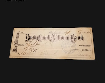 1905 Antique Check - Rush County National Bank -  1900s Rushville, Indiana - 10 dollars paid April 6, 1905
