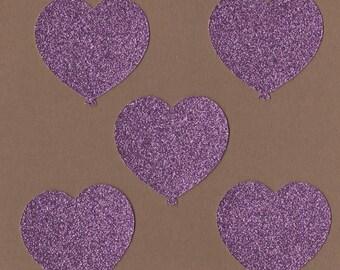 "12 - 2"" Purple Glitter Heart Balloon Die Cuts Paper Craft Embellishments Set 7016"
