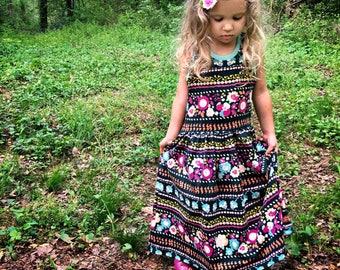 Girls maxi dress - toddler maxi dress - girls dress - girls racerback dress - girls summer dress - summer clothes for girls - toddler dress