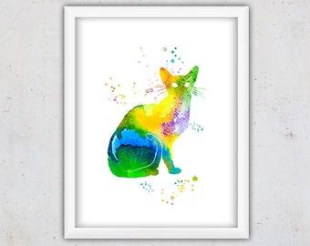 Abstract Watercolor Print, Cat Wall Art, Cat Print, Printable Digital Download Art, Cat Wall Decor, Colorful Poster, Animal Watercolor Art