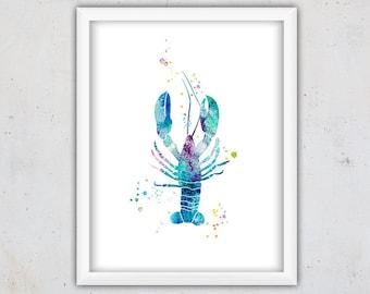 Lobster Nursery Print, Printable Nursery Art, Nautical Nursery Print, Kids Wall Art, Watercolor Print for Kids, Art Digital Download Print