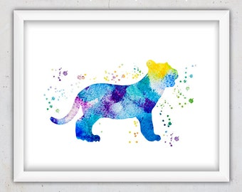 Baby Tiger Print, Nursery Print, Watercolor Animal Nursery Wall Art Print, Instant Digital Download Watercolor Wall Decor for Kids, Print