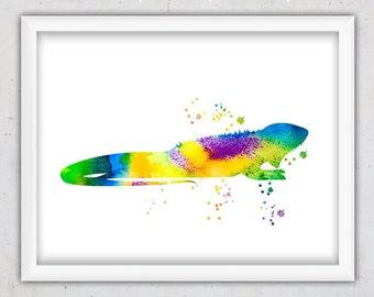 Watercolor Reptile Print, Nursery Animal Print, Digital Animal Print, Iguana Art, Printable Kids Art, Girl Nursery Art, Instant Download Art