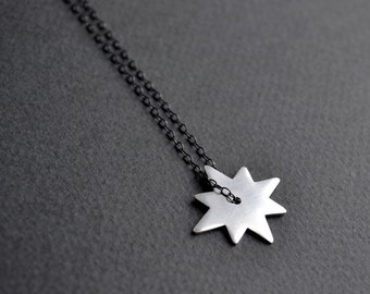 Sterling Silver Star Necklace | Starburst Necklace | Modern Star Silver Necklace | Star Pendant