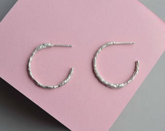Sterling Silver Textured Hoop Earrings | Luna Hoop Earrings | Textured Hoop Earrings | Small Hoop Earrings