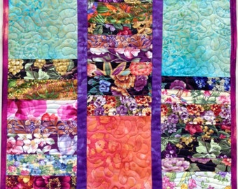 Art Quilt Flowers #2, Quilted Wall Hanging, Bright Colors, Colorful Wall Art