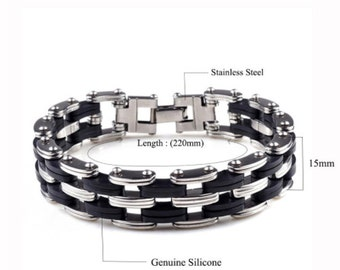 Men Stainless Steel & Silicone Bracelets