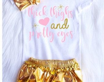 Thick thighs pretty eyes gold bloomer/headband set