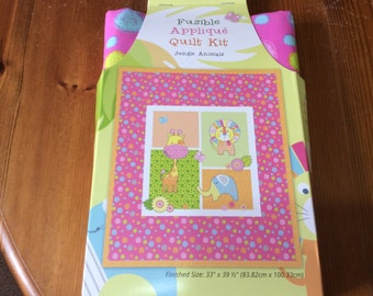 Patchwork quilt kit with fusible designs, front panel and backing , Jungle animal design