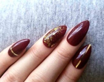 10/20 press on nails burgundy almond shape gold accents foil nails from usa