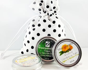 Organic Calendula Lip Balm ~ 2 pack! / Soft Healthy Lips / Gluten Free / Moisturizing  / ORGANIC! / Free Cotton Polka Dot Bag Included