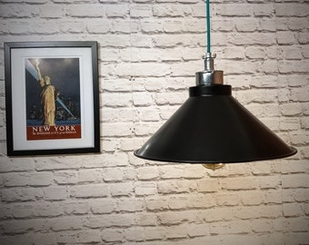 Hand made industrial 380mm black pendant light