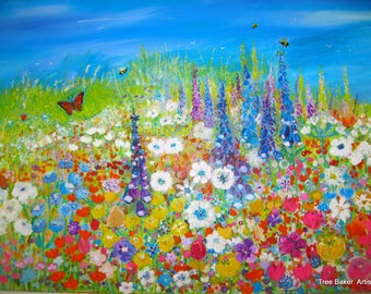 Original, Acrylic large  canvas, ready to hang, Summer  flower painting with Butterflies and Bees
