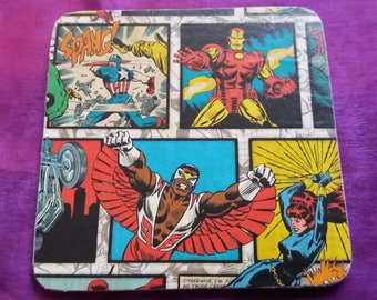 Marvel coasters, cork backed
