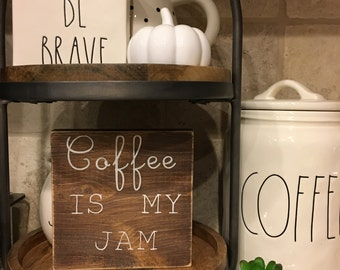 Coffee is my jam wood stained painted wood sign