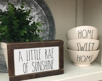 A little Rae of sunshine wood handpainted sign Rae Dunn inspired farmhouse style wood painted sign home decor kitchen decor