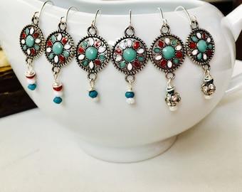 Earrings - Disc Earrings, Dangle and Drop Earrings ,Turquoise color Earrings, Silver Earrings