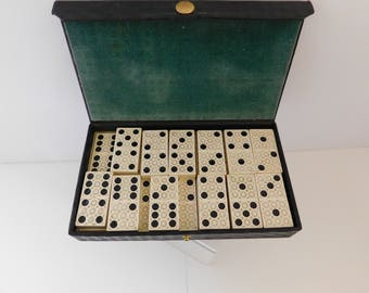 Domino game 1930 Celluloid Dominoes Retro Tile Game The Embossing Company  Box of Vintage Dominoes Vintage Toys Old Games