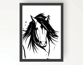 Horse Black & White Ink illustration - Digital Print Poster A4, A3