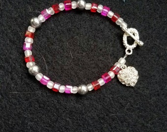 Pink and Red Beaded Bracelet w/ Heart Charm