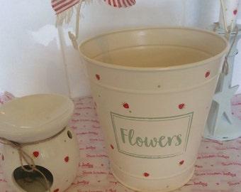 Handcrafted Susie Watson Design strawberry and spots Bucket !./ Flower Pot / Utensil holder