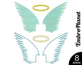 Angel Wings - Design for Embroidery Machine Digital Graphic Filled Stitch Instant Download Commercial Use angel heaven eden wing file 218e