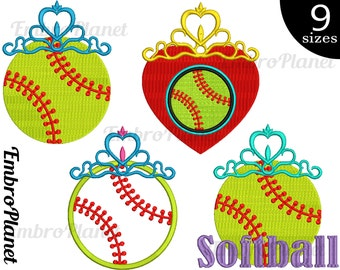 Tiara Softball - Designs for Embroidery Machine Instant Download Digital File 4x4 5x7 hoop icon symbol sign frame softball girl pink 675e