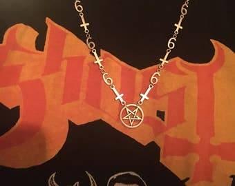 666 inverted cross pentagram necklace