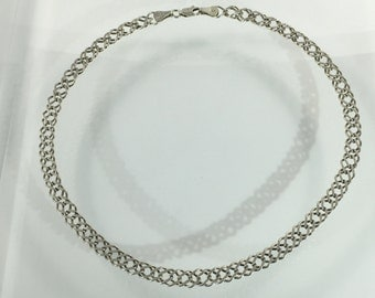 Vintage Estate Sterling Silver Double Looped Chain Links Necklace Choker Jewelry Jewellery For Her 925