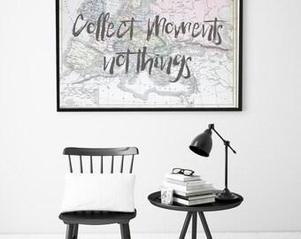 Map Print, Motivational Print, Printable Quote, Map Wall Art, Travel Print, Printable Art, Pastel Home Decor
