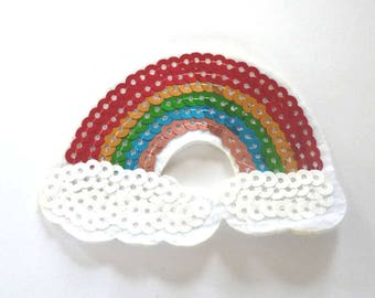 Rainbow and Clouds Sequinned Iron on Patch - H395