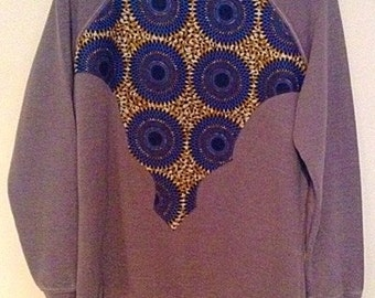 Light gray African print sweater