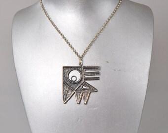 "Percz Janos vintage necklace 1960s ""Geometric bird"""