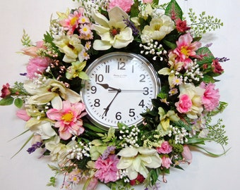 Wall Clock Floral Wreath-Magmnolia Liliy Rose Wreath-Battery Powered-Wall Clock and Silk Flowers Wreath-by Floramiagarden