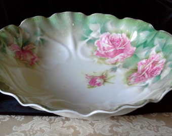 R.S. Prussia serving bowl - green/white w roses - hearts reverse impressed around sides
