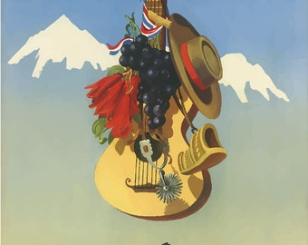 Vintage Travel Poster A4 of Chile