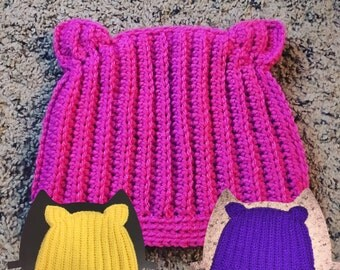 Pink Cat hat/ pink pussy hat/ cat eat beanie - women's march