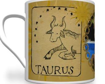 Taurus Zodiac Mug Personalised for any relative or friend. Personalised Zodiac Mug.