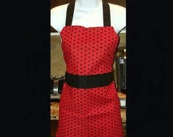 Children's Apron ( Red & Black Polka-dot )