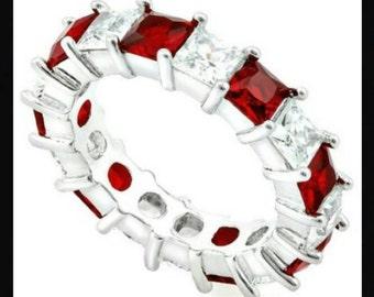 Beautiful 14k White Gold Filled, Garnet & White Sapphire Ring Size 7