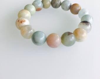 Earth toned stretchy beaded bracelet