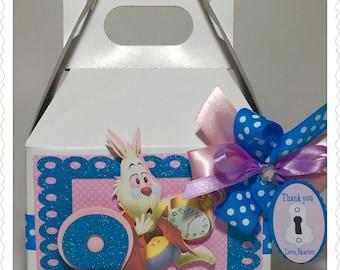 6 White Rabbit Alice in wonderland Favors Box