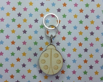Ladybug wooden stitch marker - knitting notions - charm