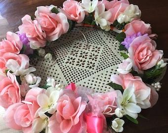 Wreath  pink roses sallie 1029