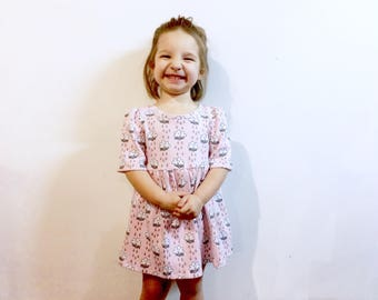 Pink rain clouds toddler dress size 12-2T