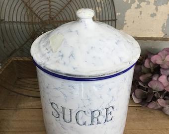 "Antique storage jar ""Sucre"", 19 cm, enamel, shabby"