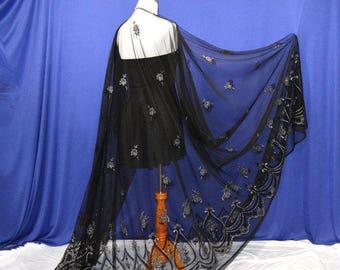Black sheer cardigan, women formal cape, black long capes, fancy wrap, wedding party cape, dress cover up, seductive cape, romantic cardigan