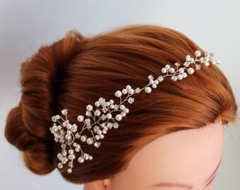 Wedding headband, Pearl Bridal headband, Pearl headband, Bridal headband, Bridal halo, Swarovski Pearl hair vine, Bridal hair accessories