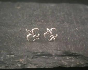 Genuine 925 Sterling Silver Fleur De Lis Studs Butterfly Back Earrings Gift Boxed